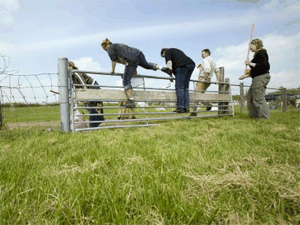 Solextour Hazerswoude, Mensen klimmen over een hek op een weiland